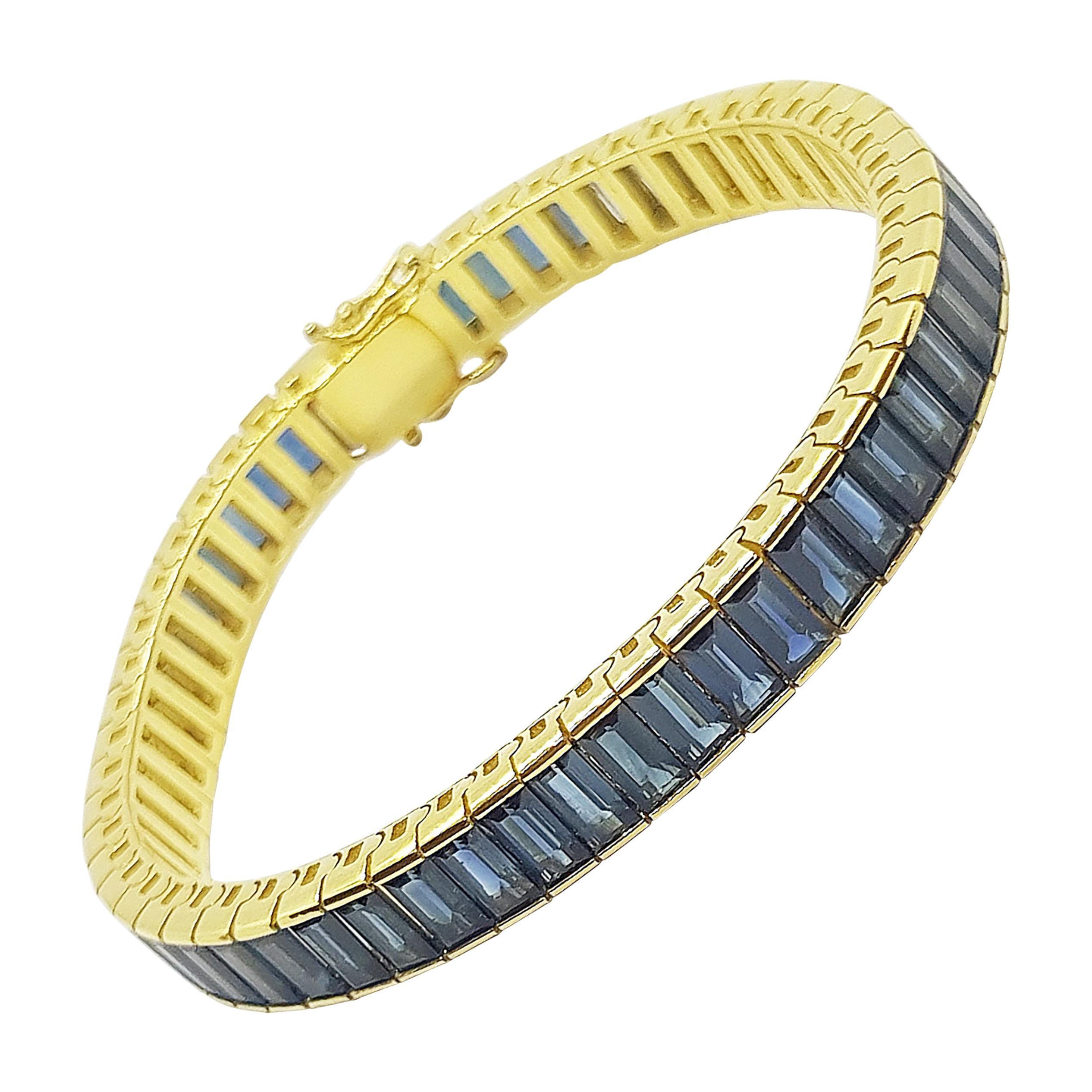 Baguette Cut Blue Sapphire Bracelet Set in 18 Karat Gold Settings
