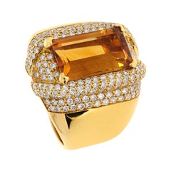 """""""Baguette"""" Cut Citrine Topaz and Diamond Yellow Gold Cocktail Ring"""