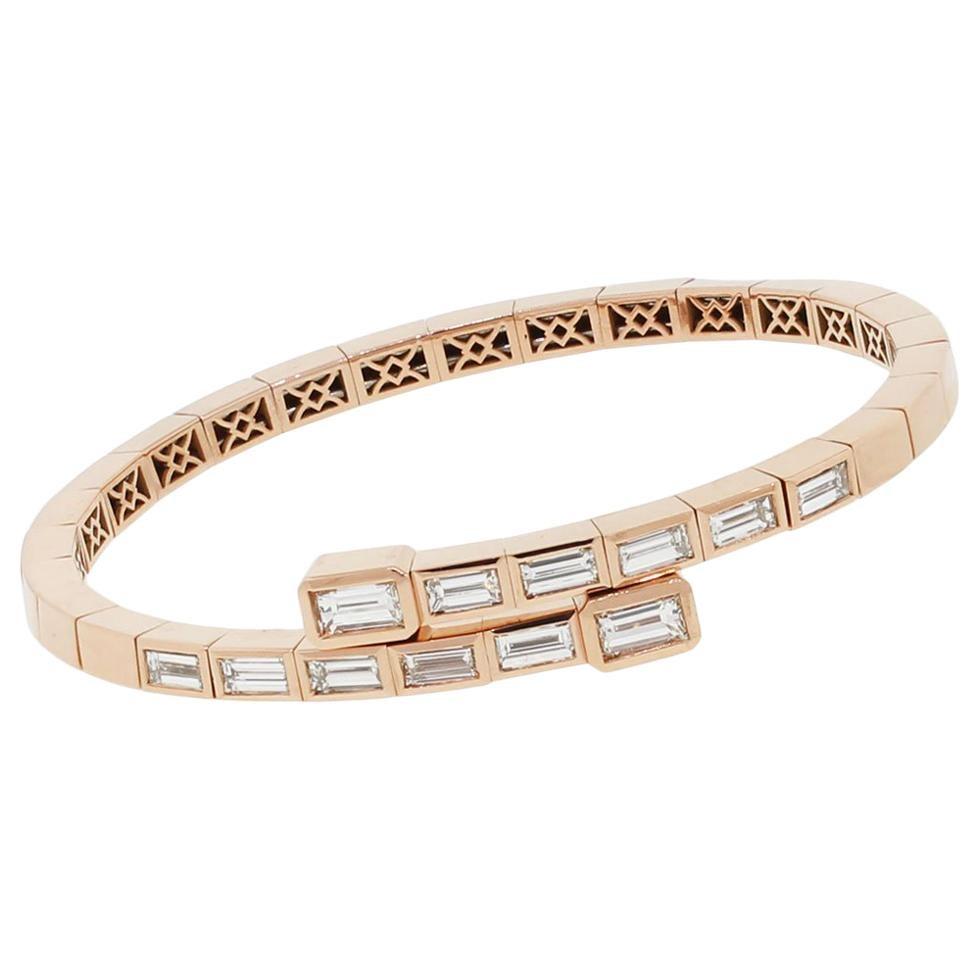 Baguette Cut Diamond Crossover Bangle