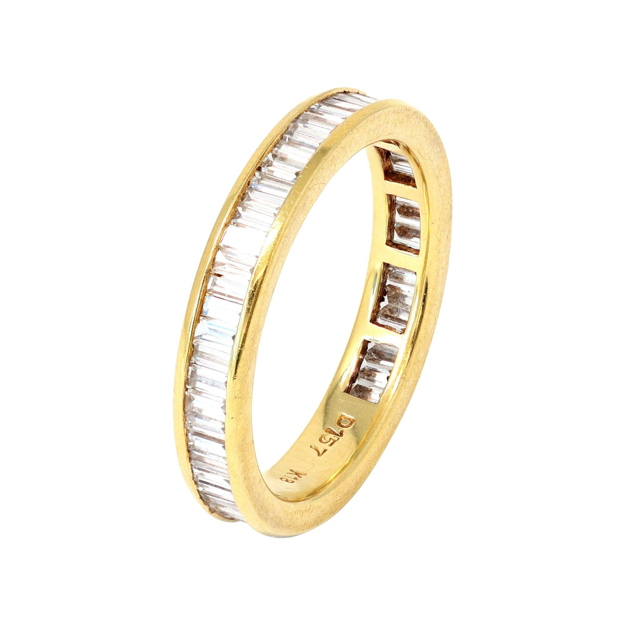 Baguette Cut Diamond Eternity Band Ring Set in 18k Yellow Gold