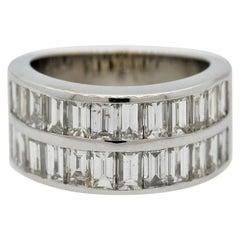 Baguette-Cut Diamond Half-Eternity Gold Band Ring