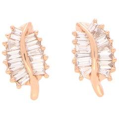 Baguette Cut Diamond Leaf Stud Earrings Set in 18 Karat Rose Gold
