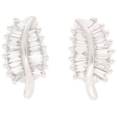 Baguette Cut Diamond Leaf Stud Earrings Set in 18 Karat White Gold