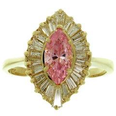 Baguette-Cut Diamond Pink Zircon Yellow Gold Ballerina Ring
