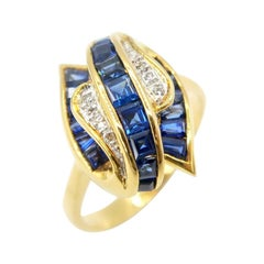 Baguette Deep Blue Sapphire Diamond Fascinator Ring in 18k Yellow Gold