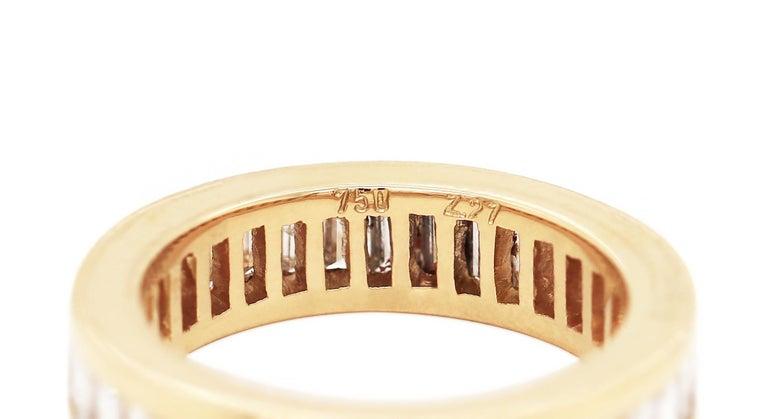 Modern Baguette Diamond 18 Carat Yellow Gold Full Eternity Ring For Sale