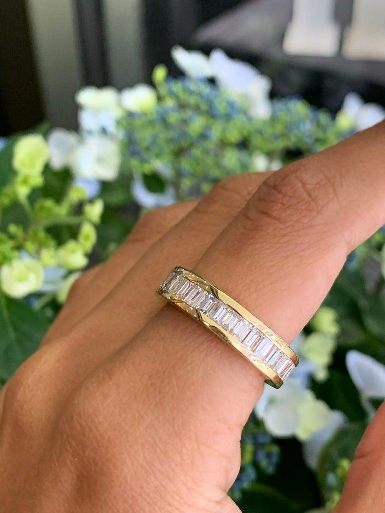 Baguette Cut Baguette Diamond 18 Carat Yellow Gold Full Eternity Ring For Sale