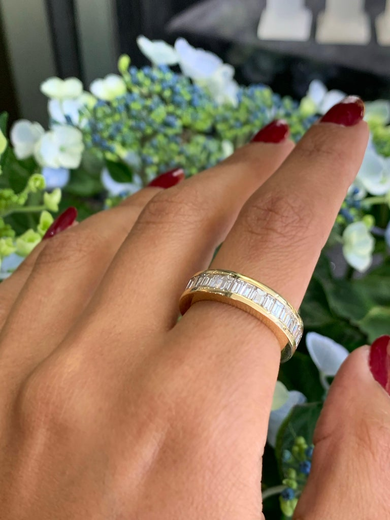 Baguette Diamond 18 Carat Yellow Gold Full Eternity Ring In Excellent Condition For Sale In London, GB