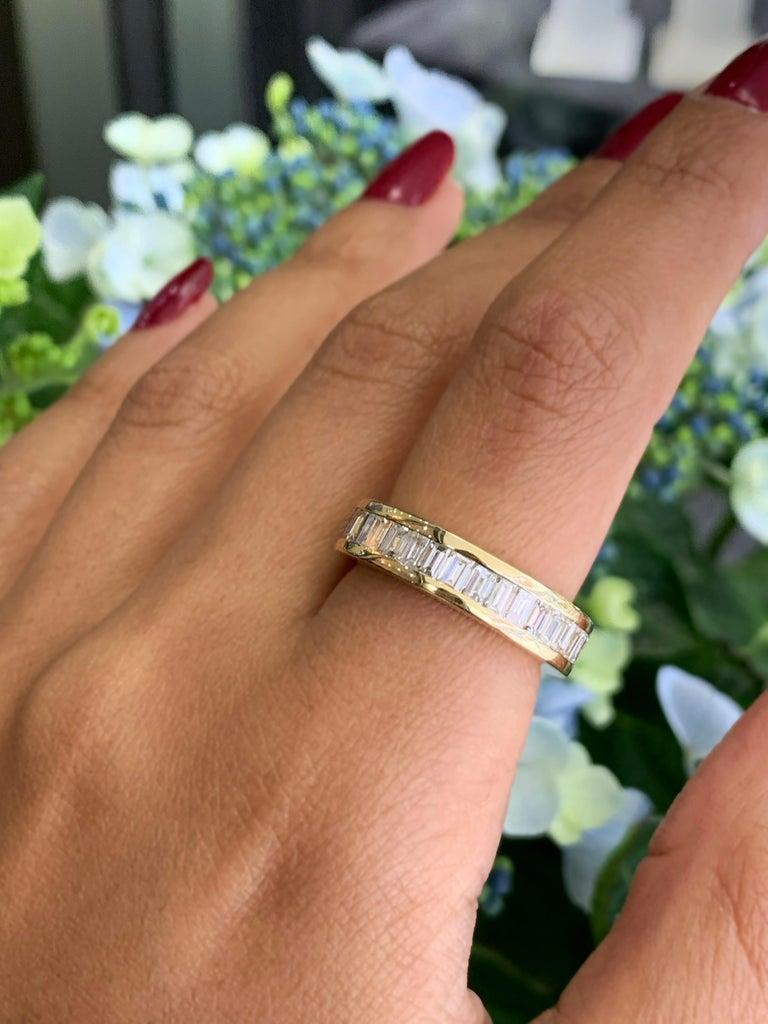 Women's Baguette Diamond 18 Carat Yellow Gold Full Eternity Ring For Sale