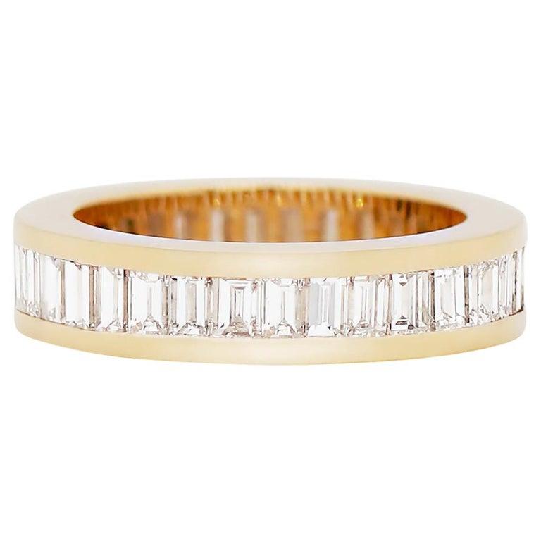 Baguette Diamond 18 Carat Yellow Gold Full Eternity Ring For Sale