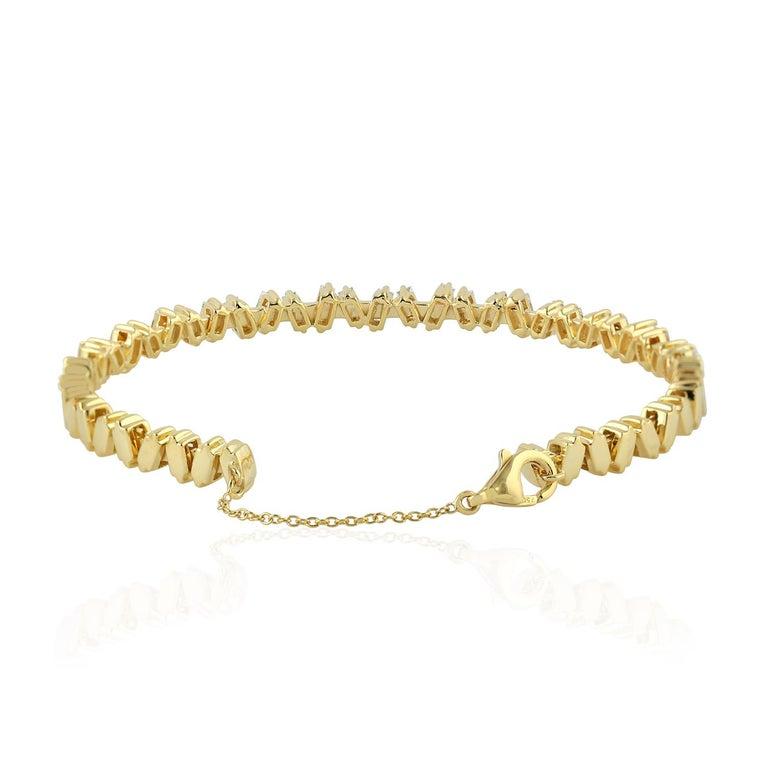 Modern Baguette Diamond 18 Karat Gold Bangle Bracelet