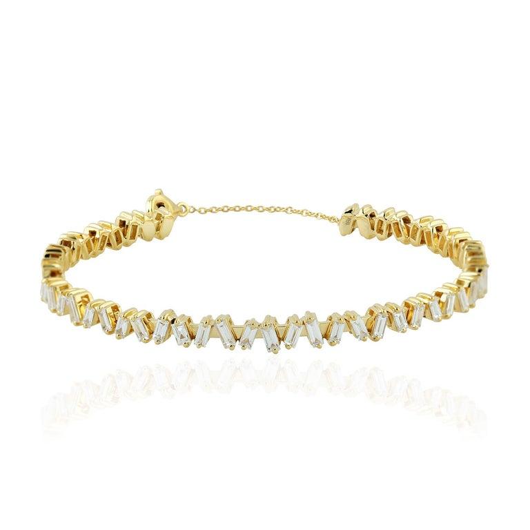 Baguette Cut Baguette Diamond 18 Karat Gold Bangle Bracelet