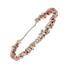 Baguette Diamond 18 Karat Gold Bangle Bracelet