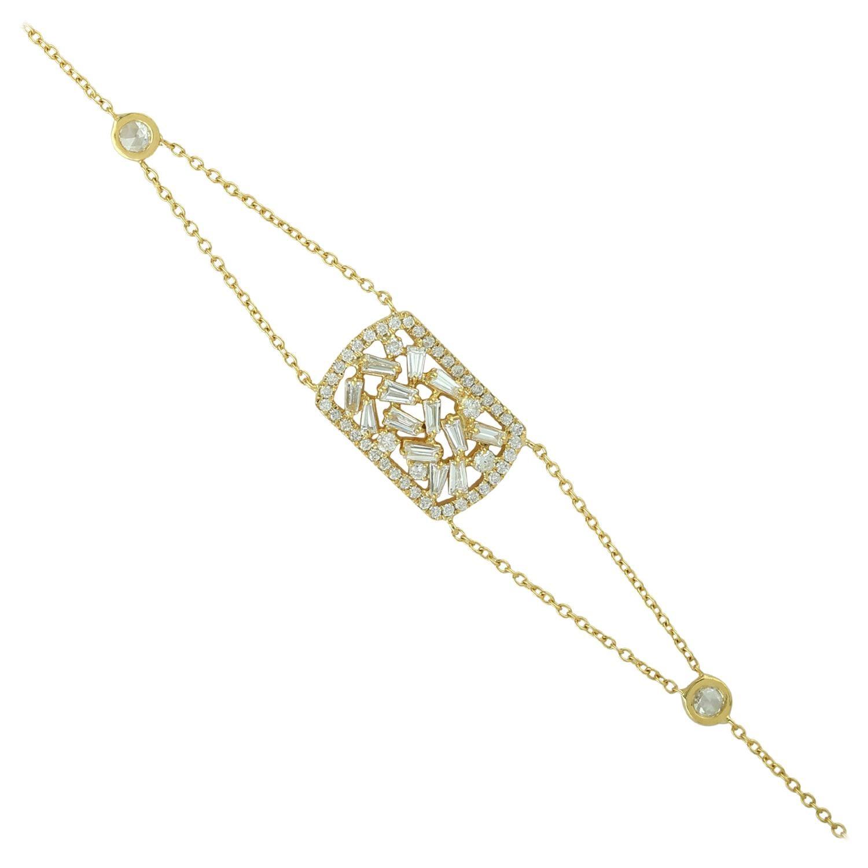 Baguette Diamond 18 Karat Gold Bracelet