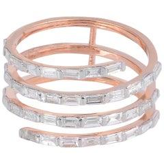 Baguette Diamond 18 Karat Gold Coil Ring