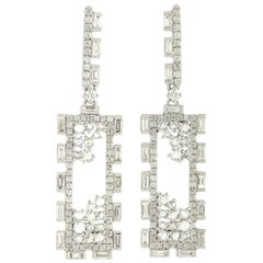 Baguette Diamond 18 Karat Gold Earrings