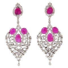 Baguette Diamond 18 Karat Gold Heart Ruby Earrings