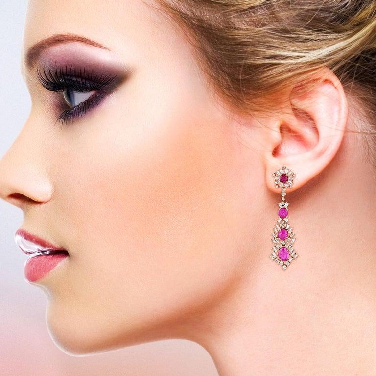 Modern Ruby Baguette Diamond 18 Karat Gold Earrings For Sale