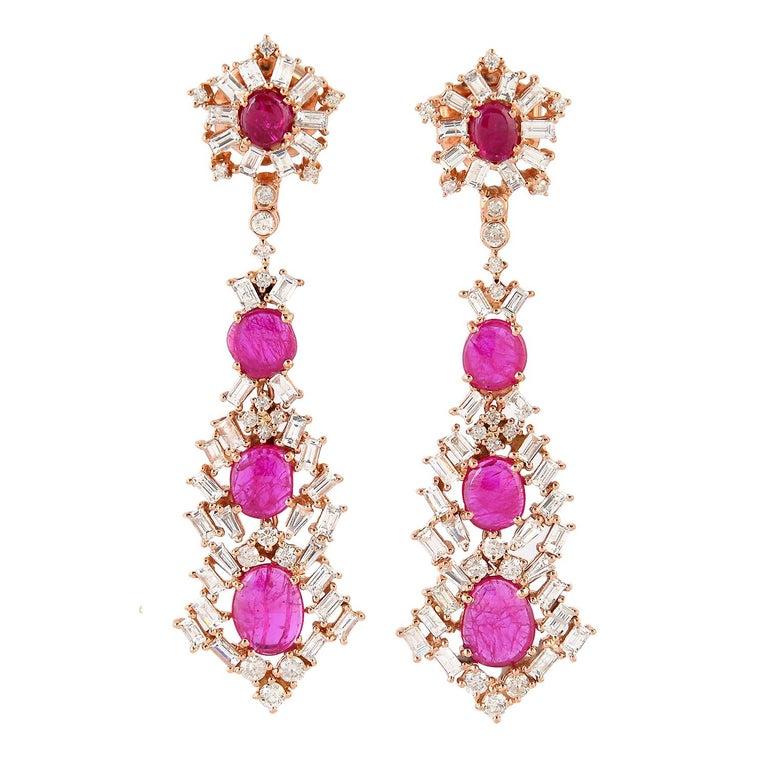 Baguette Cut Ruby Baguette Diamond 18 Karat Gold Earrings For Sale