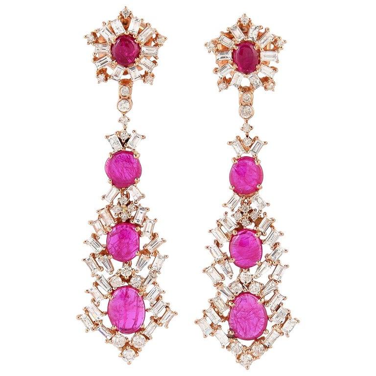 Ruby Baguette Diamond 18 Karat Gold Earrings For Sale