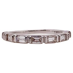 Baguette Diamond Band 1/2 Carat Channel Set in White Gold Sizable