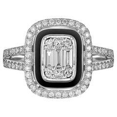 Baguette Diamond Black Enamel Ring in 18 Karat White Gold