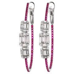 Baguette Diamond Cluster and Ruby Hoop Earring