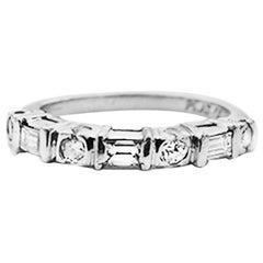 Baguette Diamond Engagement Band, Platinum .50 Carat VS Quality