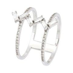 Baguette Diamond Fashion Diamond Ring 18k White Gold for Her