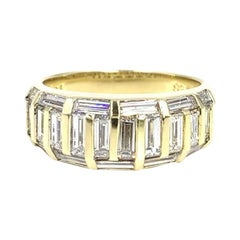 Baguette Diamond Mosaic 18 Karat Yellow Gold Band