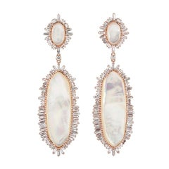 Baguette Diamond Mother of Pearl 18 Karat Gold Snow White Earrings