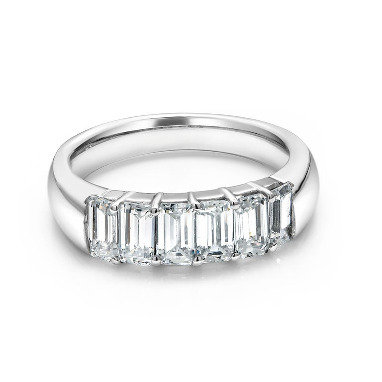 18 Karats white gold baguette diamond prong set partial ring Six baguette diamond weighing 1.50 carat  Each diamond measures 5x2.5 millimeter, weighing 02.7 carat  Made to order for all  finger sizes A special order is not refundable  Three weeks