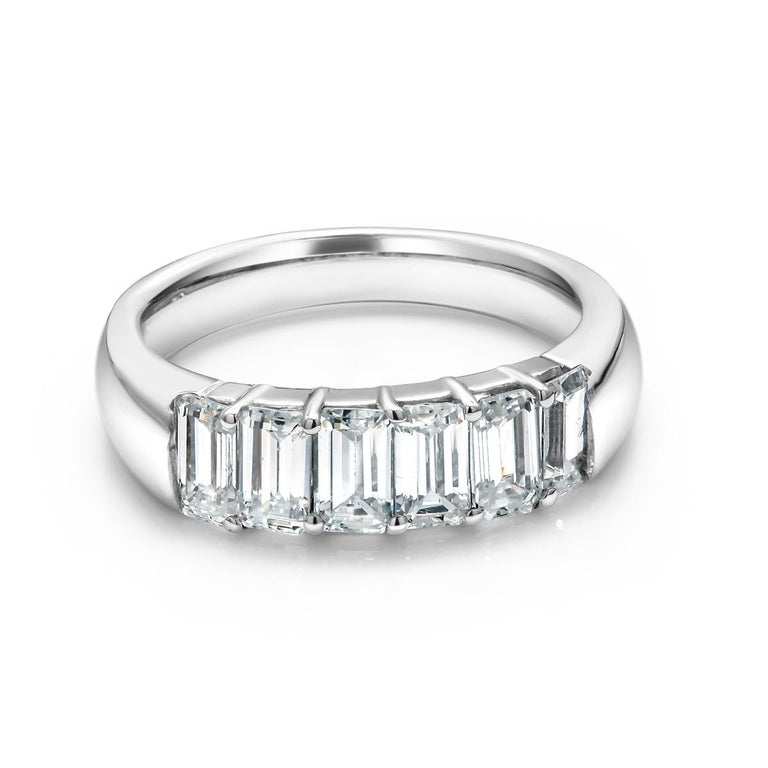 Baguette Cut Baguette Diamond Partial Prong Set 18 Karat Gold Ring Weighing 1.50 Carat For Sale