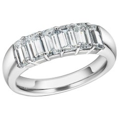 Baguette Diamond Partial Prong Set 18 Karat Gold Ring Weighing 1.50 Carat