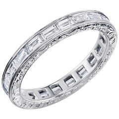 Baguette Diamond Platinum Eternity Band with Old Master Engraving