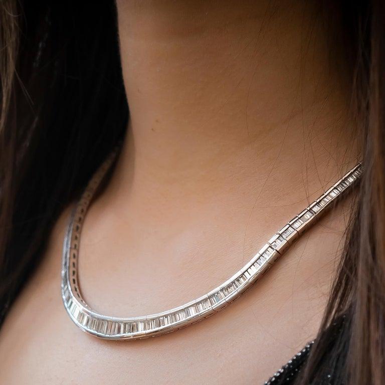Modern Baguette Diamond Platinum Necklace For Sale