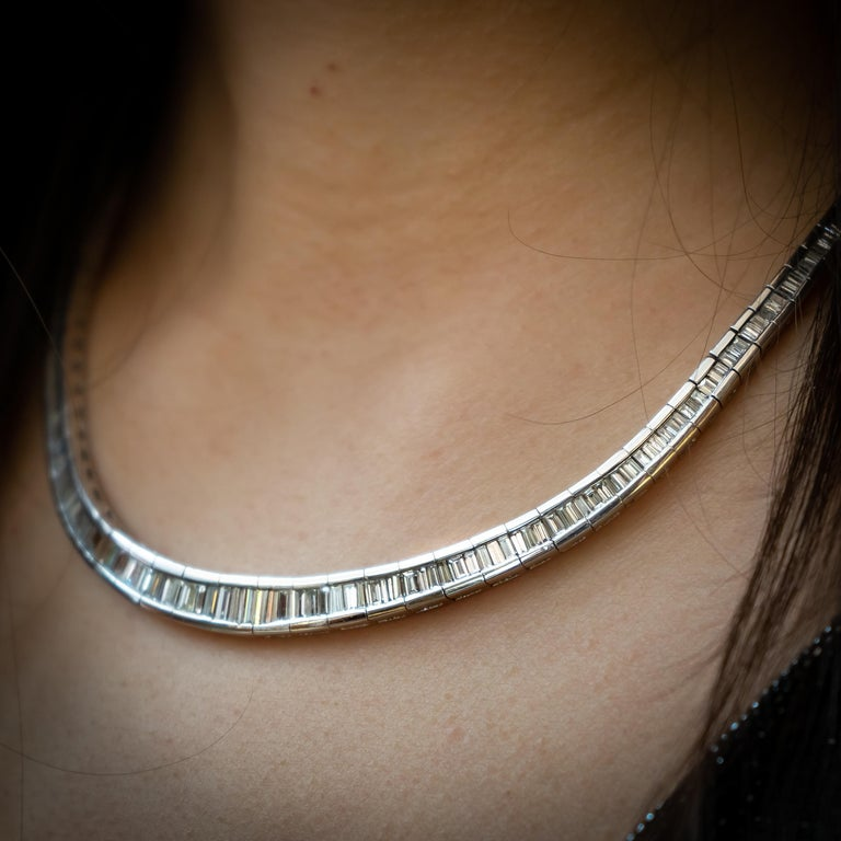 Baguette Diamond Platinum Necklace In Excellent Condition For Sale In London, GB