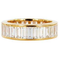 Baguette Diamond Red Gold Eternity Ring