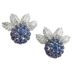 Baguette Diamond Sapphire Gold Palm Tree Leaves Earrings