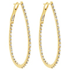 Baguette Diamond Tear Drop Hoop Earrings