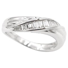 Baguette Diamond Wave Fluted 18 Karat White Gold Band Ring