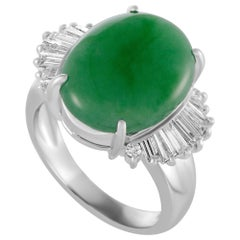 Baguette Diamonds and Oval Jade Platinum Ring