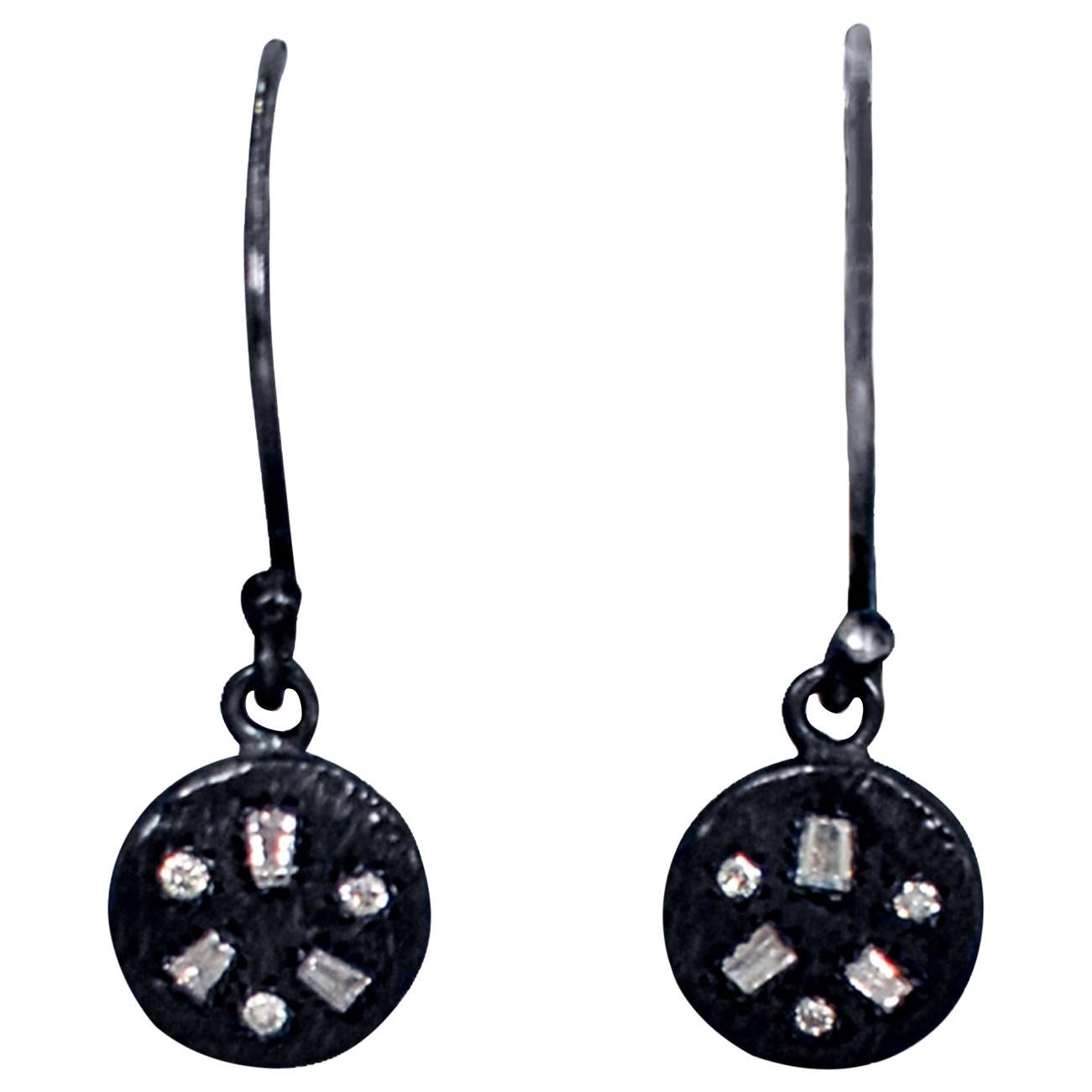 Baguette Diamonds Oxidized Sterling Silver Dangle Earrings