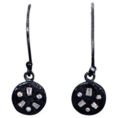 Baguette Diamonds Oxidized Sterling Silver Dangle Earrings