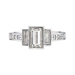 Baguette Emerald Cut Diamond Platinum Engagement Ring