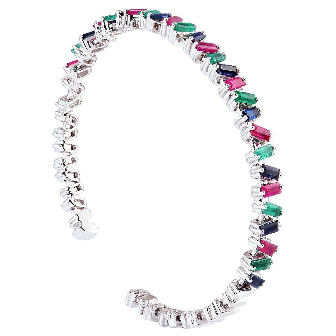 Baguette Emerald Ruby Sapphire 18 Karat Gold Bangle Bracelet