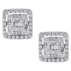 Baguette Halo Diamond Stud Earrings