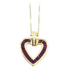 Baguette, Heart with Diamonds, Pigeon Blood Rubies, 14 Karat Yellow Gold