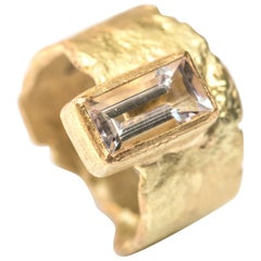 Baguette Morganite Wide Textured 18 Karat Gold Handmade Ring