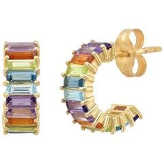Baguette Multicolored Gemstone Earrings, Gold, Ben Dannie